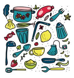 doodle cartoon kitchen elements big set vector image