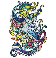 Doodle water unicorn vector