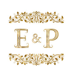 e and p vintage initials logo symbol vector image