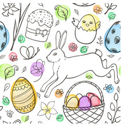 easter pattern with eggs and rabbit vector image