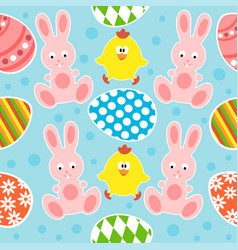 easter seamless background with funny rabbits and vector image