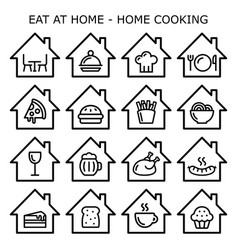 eating at home home cooking icons set vector image