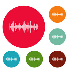 equalizer player icons circle set vector image