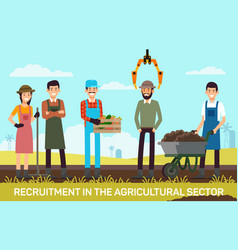 Flat banner recruitment in agricultural sector vector
