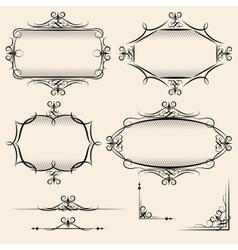 Four elegant vintage frames vector