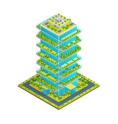 futuristic skyscraper with green roof concept 3d vector image