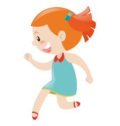 Girl in blue dress smiling vector