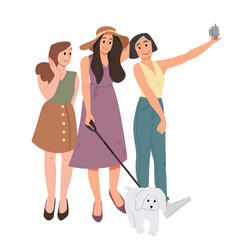 group three girls and dog taking a selfie vector image