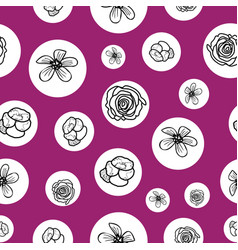 hand drawn garden flowers seamless pattern vector image
