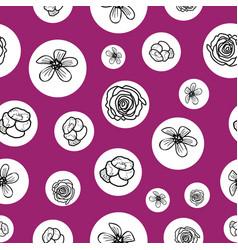 Hand drawn garden flowers seamless pattern vector