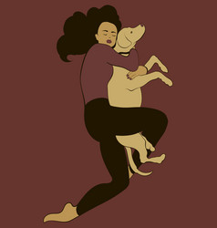 Hand drawn girl with dog isolated vector