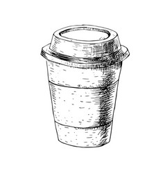 hand drawn paper cup with coffee sketch vector image