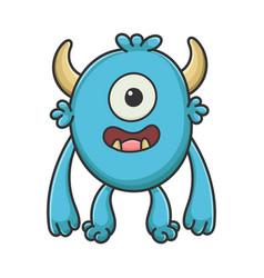 happy cyclops cartoon furry creature monster vector image