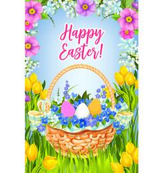 happy easter greeting card basket flowers vector image