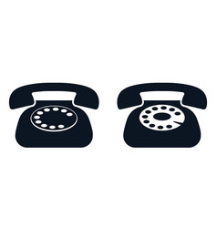home rotary phone black icon vector image