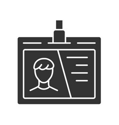 Identification document id tag glyph icon plastic vector
