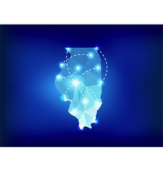 Illinois state map polygonal with spotlights vector