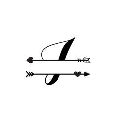 Initial i love monogram split letter isolated vector