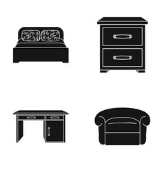Interior design bed bedroom furniture and home vector