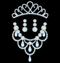 jewelry set diadem necklace and earrings with vector image