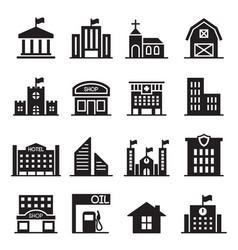 Landmark building icons set vector