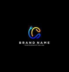 Letter c flash electrical logo design vector