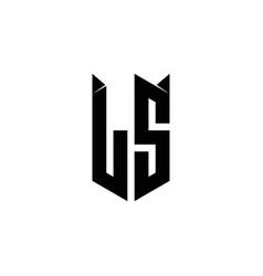 Ls logo monogram with shield shape designs vector