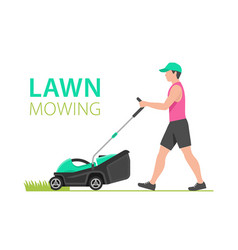 Man with green lawn mower vector