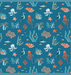 marine life flat seamless pattern background vector image