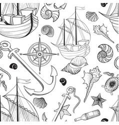 marine life seamless pattern sailing ship vector image