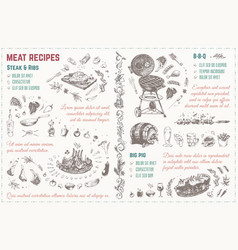 Meat dishes recipe hand drawn sketches vector