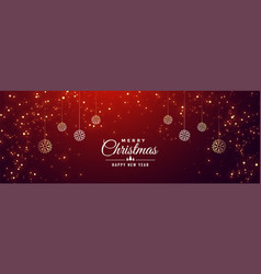 merry christmas sparkle red banner design template vector image