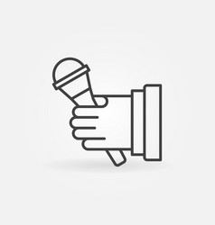 Microphone in hand icon in thin line style vector