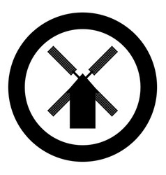 mill icon black color in circle vector image