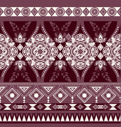 Monochrome floral seamless pattern ethnic vector