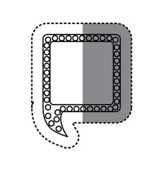 monochrome sticker of square speech with tail and vector image
