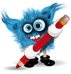 Monster with Pencil vector
