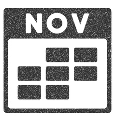 November Calendar Grid Grainy Texture Icon vector image