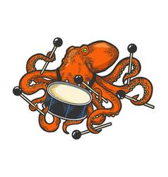 Octopus playing drum color sketch vector