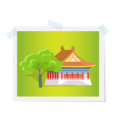 oriental house or theatre near green tree image vector image
