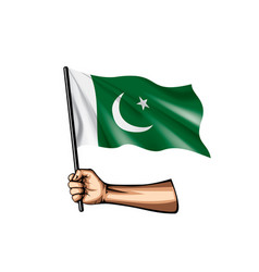Pakistan flag and hand on white background vector