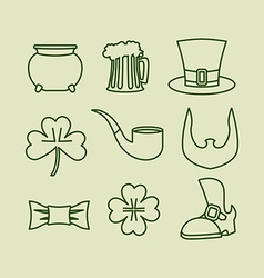 Patricks day icons set Linear symbols for Irish vector image