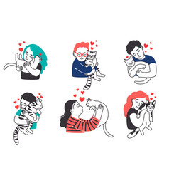 People hug pet cats vector