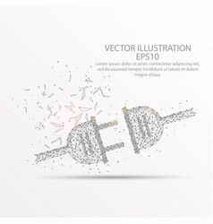 plug in low poly wire frame on white background vector image