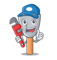 Plumber vintage putty knife on mascot vector