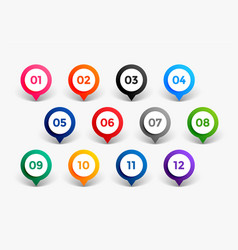 Pointer style number bullet points till twelve vector