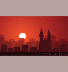 Prague low sun skyline scene vector