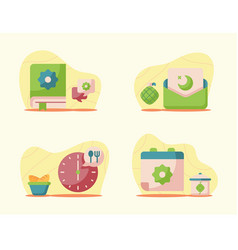 Ramadan collection with modern flat style vector