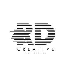 rd r d zebra letter logo design with black and vector image