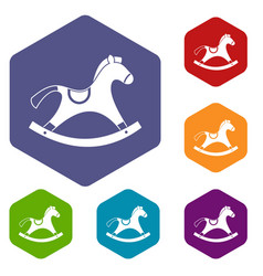 Rocking horse icons set hexagon vector